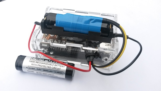 Micro BBB UPS supplied by a 18650 sized Li-Ion battery (3,6V - 2600 mAh)